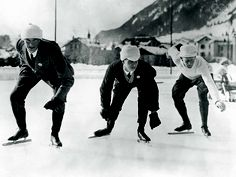 English speed skaters training in Chamonix for the Winter Olympic Games, 16th January 1924. From left to right, B. H. Sutton, L. H. Cambridgeshire and A. E. Tibbet. (Photo by Topical Press Agency/Hulton Archive/Getty Images) Add Around The Rings on www.Twitter.com/AroundTheRings & www.Facebook.com/AroundTheRings for the latest info on the Olympics.