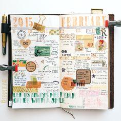 Wk of Feb. 9-15. 2015. Instagram: @jennie.pae Journal Paper, Book Journal, Bullet Journal Lists, Bullet Journals, Filofax, Art Journal Tutorial, Cool Notebooks, Dream Book, Green Theme