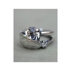IOSSELLIANI SILVER FEATHER RING ($154) found on Polyvore