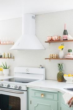 inside a happy, pastel-inspired kitchen makeover