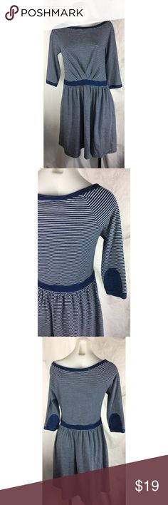 Anthropologie Postmark striped dress patched Anthropologie Postmark blue white striped racquet dress elbow patched Women's Size:  S Approx measurement: armpit to armpit - 16 1/2 inches; sleeves: 17 inches; length - 36 inches Fabric content: 100% cotton Machine washable Gently used - see pictures Anthropologie Dresses