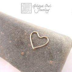 21g 14k Gold Heart Cartilage Ring, Daith-Rook Piercing   GildedOwlJewelry - Jewelry on ArtFire