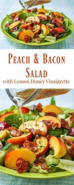 Honey Lemon Vinaigrette on Peach Bacon Salad - a taste of summer! Honey Lemon Vinaigrette on Peach Bacon Salad - a vinaigrette recipe that goes particularly well with salads containing summer fruits and berries like peaches and plums or strawberries Healthy Salads, Healthy Eating, Healthy Recipes, Bariatric Recipes, Meal Salads, Vegetarian Recipes, Healthy Food, Bacon Salad, Lemon Vinaigrette