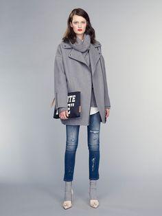 grey oversized moto jacket. and socks with heels! | Banana Republic Fall 2015 via @WhoWhatWear