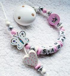 ✿ Schnullerkette mit Namen✿ Herz ✿ Mädchen ✿ Geschenk ✿ Geburt ✿ Baby ✿