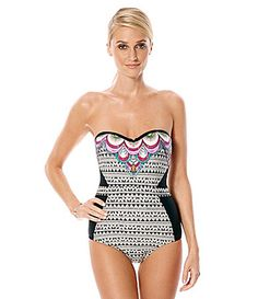 Laundry by Shelli Segal Maharaji Border Bandeau OnePiece Swimsuit #Dillards