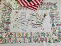 "Vintage Embroidered United States Sampler Flowers 25"" x 18"" Vintageblessings $32"