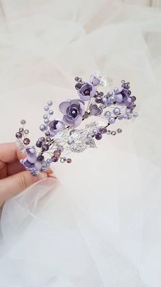 Silver Tiara with violet Flowers and lavender Pearls, Silver Crown, Silver Wedding Tiara, Silver Bridal Tiara, Pearl Tiara, Floral Tiara