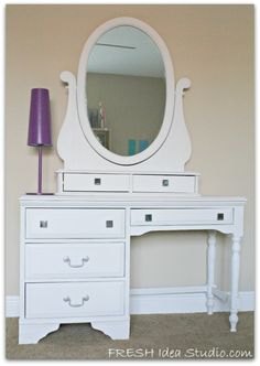 Diy vanity . I can so make this! In black though...