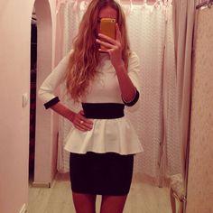 Office Bandage Patchwork Bodycon Peplum Short Dress