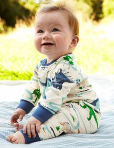For monstrous romping in our favourite dinosaur print, or classic stripes, on pure cotton jersey rib which will wash box-fresh every time.