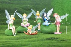 1 set of 6 Cute Fairy Forest Elf People Figurine Miniature lovely Fairy Garden Mini Moss Terrarium DollHouse Toy Decoration NOVO Supplies - Tinkerbell Rosetta  By NOVO Supplies  - Standing Figurines Height: Around 3.5 x 1.9 inch / 90 x 50 mm  - The price is for 1 set of 6 items  - Wings are shipped detached, have to glue it upon arrival  - The blue fairy has 2 wings, and the wing slot is in its hair which have to find carefully.  - Buy more save more shipping fee!  - If you want to buy m...