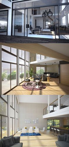 House Plans in Modern Architecture. High Ceiling Living Room, Spacious Living Room, Living Rooms, Prefabricated Houses, Prefab Homes, Colorful Interiors, Modern Interiors, Ceiling Design, House In The Woods