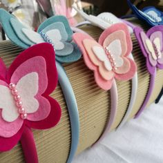 Colorful butterfly headbands by DusiCrafts shop DusiHairAccessories.Etsy.com
