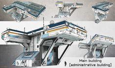 sci fi main - administrative building, Srdjan Pavlovic on ArtStation at https://www.artstation.com/artwork/QNL6x