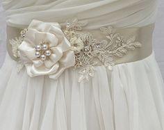 Bridal Sash, Wedding Sash in Pale Champagne & Ivory With Lace, Pearls And Crystals, Bridal Belt, Wedding Dress Sash, Flower Sash by AGoddessDivine on Etsy https://www.etsy.com/listing/200687467/bridal-sash-wedding-sash-in-pale