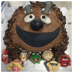 Chocolate sandwich with chocolate fudge buttercream.  Mini muffins with fondant Muppet faces.  Homemade for SonNo2 for us 11th birthday