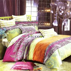 Cheap Tropical Colorful Flowers Yellow Cotton 4-Piece Queen/King Size Bedding Sets Under Price $100 Online At PACCONY.com