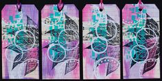 https://flic.kr/p/wUW8DB | Art Tags - Pink and Purple | Art tags made from re-purposed file folders, acrylic paint, and rubber stamped images.