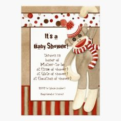Sock Monkey, Boy Baby Shower Invitation Cards.  This Boy Baby Shower invitation features a cute, adorable and whimsical classic sock monkey welcoming your new little baby to the world! The sock monkey is hanging on a border of circle polka dots with his fun striped neck scarf wrapper around him. A stripe pattern of red, tan and brown is on the bottom.