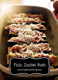 Pizza Zucchini Boats Recipe - Cook ahead, easy Wekend Freezer Prep for Week-day Meals. #Recipe http://www.frugalcouponliving.com/2013/09/10/pizza-zucchini-boats-recipe/