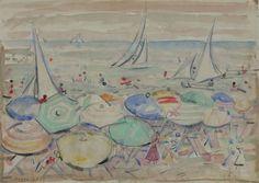 Levy Moses : Spiaggia  (1957)  - Acquerello su carta - Asta Autori dell\'800-900, Moderni e Contemporanei, Grafica ed Edizioni - Galleria Pananti - Casa d\'Aste