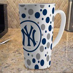 Yankees Coffee Cup   New York Yankees 16oz White Polka Dot Latte Mug