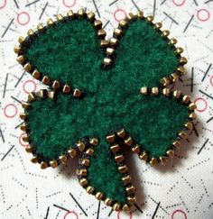 Recycled Felted Wool/Zipper Shamrock/Four Leaf Clover Brooch/Pin