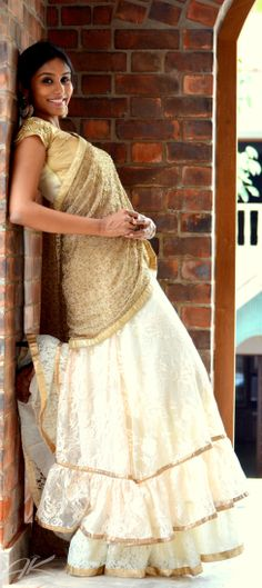 white and gold Indian Couture, Wedding Wear, Desi, Ethnic, Victorian, Saree, Studio, Gold, How To Wear