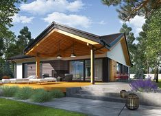 Projekt domu Simon III G2 energo 126,16 m² - koszt budowy - EXTRADOM Modern Bungalow House Design, Modern Barn House, Beautiful House Plans, Beautiful Homes, Weekend House, Exterior Design, Tiny House, Farmhouse, House Styles