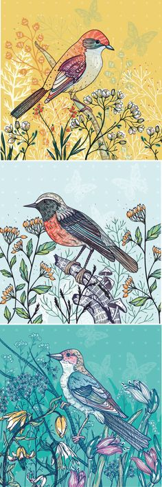 Vector graphic with birds and flowers. by Anna Aniskina, via Behance