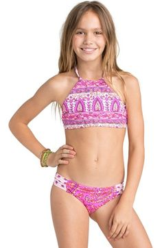 Billabong 'Penny Paisley' Two-Piece Halter Swimsuit (Little Girls & Big Girls) available at #Nordstrom