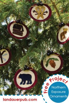 Fun and simple wool appliqué ornaments decorated with images of the north woods. Adorn a tree, a gift or find a fun new way to show them off. Includes templates and instructions.