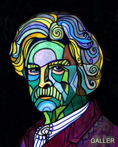 Mark Twain Folk Art - Art Poster Print of painting by Heather Galler of painting Abstract Modern Portrait (HG609)