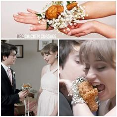 "KFC Chicken Corsage - make that special girl regret saying ""yes"" to going to prom with you! (This actually exists)"