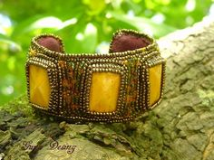 Beaded Cuff...could put a miniature quilt where yellow stones are: http://www.craftsy.com/project/view/Mothers-Day-Contest--Mother-Earth/39996