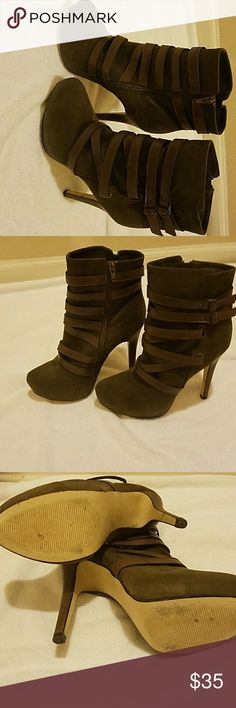 Ankle boots Worn once. Recently had knee surgery so I'm unable to wear them.  Size 10. Im usually a 9 but always go one size up with  heels. Shoes Ankle Boots & Booties