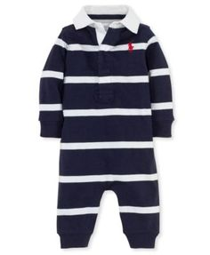 Ralph Lauren Baby Coverall, Baby Boys Rugby Striped Coverall