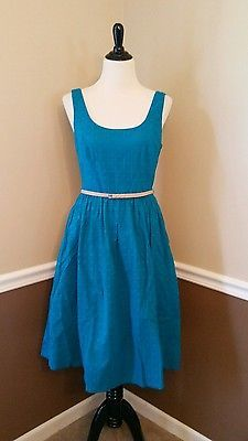NEW-195-Modcloth-Bliss-or-That-8-Teal-Eyelet-Tea-Dress-Turquoise-Donna-Morgan