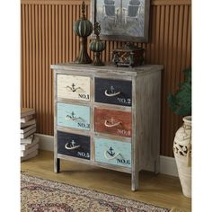 Somette Grey Weathered 6-Drawer Chest (Gray Weathered 6-Drawer Chest), Black