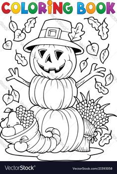 Coloriage thanksgiving decoration et citrouille Coloriages Halloween à imprimer Thanksgiving Coloring Sheets, Fall Coloring Sheets, Free Halloween Coloring Pages, Pumpkin Coloring Pages, Fall Coloring Pages, Free Printable Coloring Pages, Coloring Books, Halloween Crafts For Kids, Fall Halloween