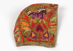 Lakota quilled baby bonnet, ca. 1900. South Dakota or North Dakota. Porcupine quills, pigment, hide, and sinew. (1/3337)