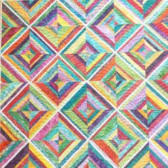 One of my sewing BFF's Jane @jaiamar posted her completed string quilt this morning so I decided to find mine! I taught this as a class several years ago and still love it! I used lots of bright batiks #batiks #hoffmanfabrics #stringquilt