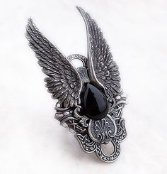 Gothic Mens Ring BLACK ONYX Ring Goth Jewelry Silver Wings Womens Unisex Adjustable Band Large Statement Ring Large Ring Rocker Fantasy Dark