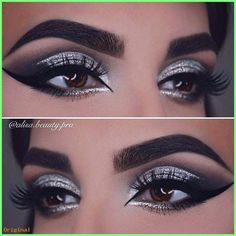 Gorgeous Makeup: Tips and Tricks With Eye Makeup and Eyeshadow – Makeup Design Ideas Black And Silver Eye Makeup, Pink Eye Makeup, Eye Makeup Art, Smokey Eye Makeup, Eyeshadow Makeup, Silver Glitter Eye Makeup, Silver Eyeshadow Looks, Intense Eye Makeup, Black Silver Nails