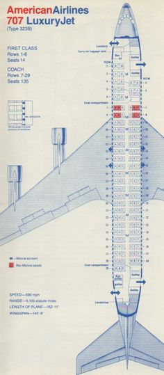 American Airlines 707 Seating chart - Back when flying was 'loud and proud' and didn't go that far on a tank of *gas*