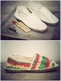 DIY bunte Schuhmalerei // DIY colourful shoe painting