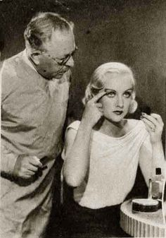 Carole Lombard with Max Factor. Some people don't know that Max Factor was the was the king of make-up artists in 40's hollywood.