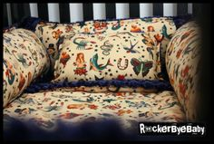 rockabilly tattoo print crib bedding set - great for boy or girl's room