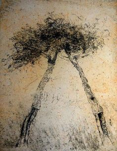 Zoran Music (Slovenian, Two Trees, Color etching on paper, 47 x x cm). Two Trees, Sculpture, Nocturne, Gravure, Botanical Art, Les Oeuvres, New Art, Images, Drawings